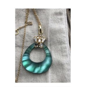 Alexis Bittar Turquoise Lucite & Crystal necklace
